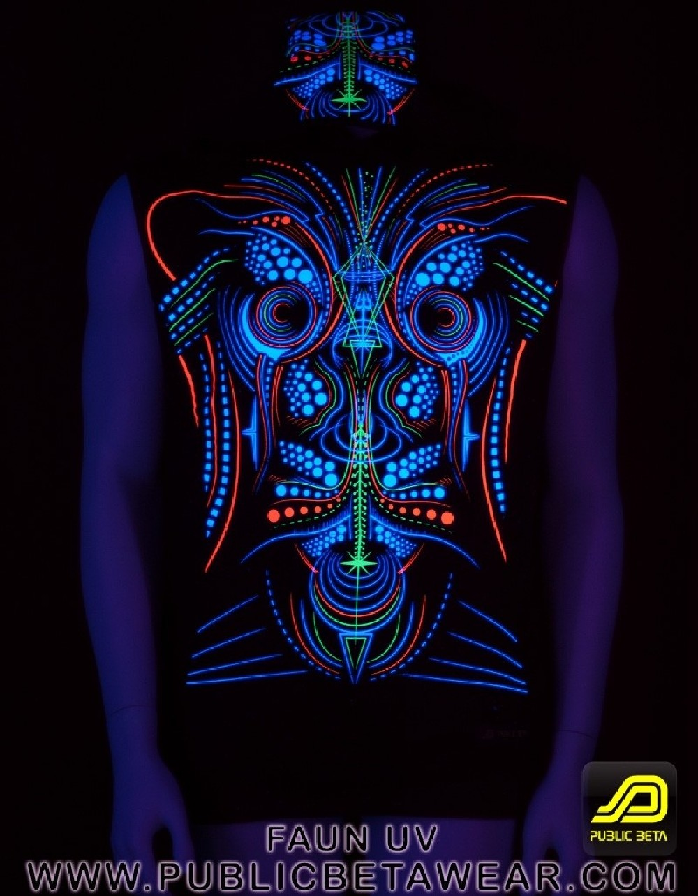 Faun UV D78 Vest /Glow in Blacklight Print