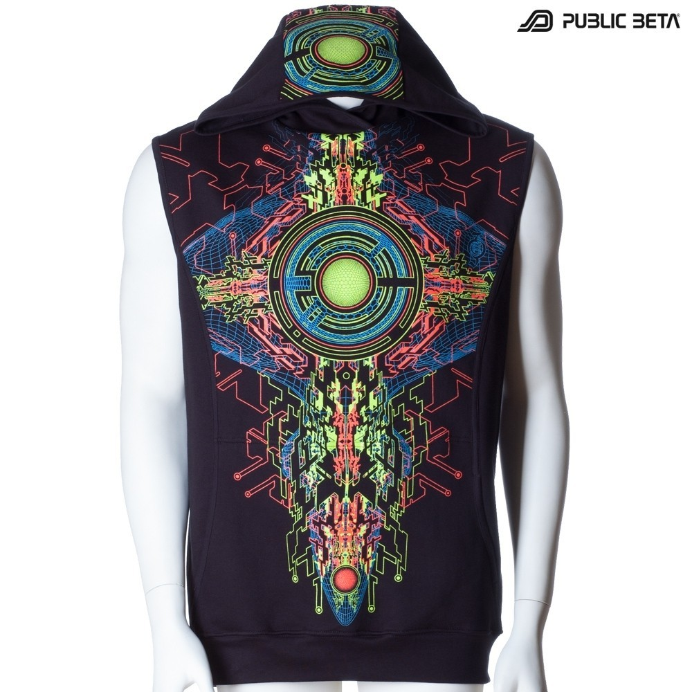 Cyberdelic Art Printed Hooded Vest / Trancemitter UV D48