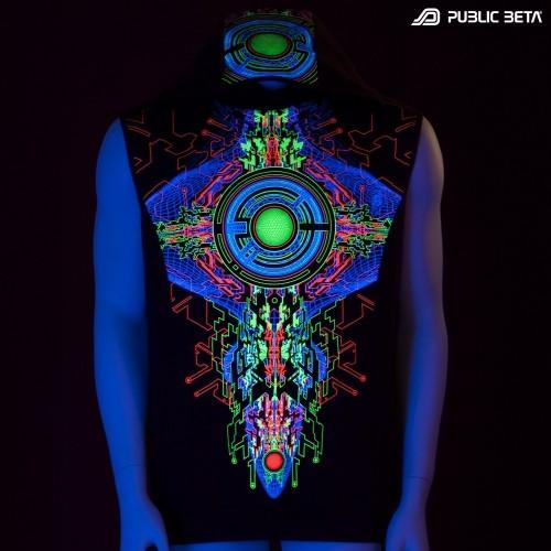 Cyberdelic Art Printed Hooded Vest / Trancemitter UV D48
