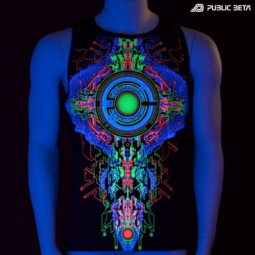 Trancemitter UV D48 Sleeveless Shirt / Glow in Blacklight Psywear