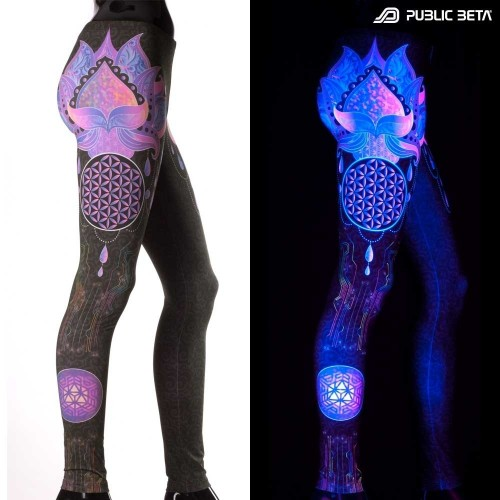 Lotus 23 D109  Glow in Blacklight Yoga Leggings