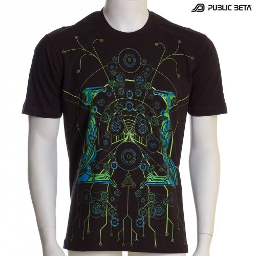 Psychedelic T-Shirt / Neon Glow Print / Androids UV D7