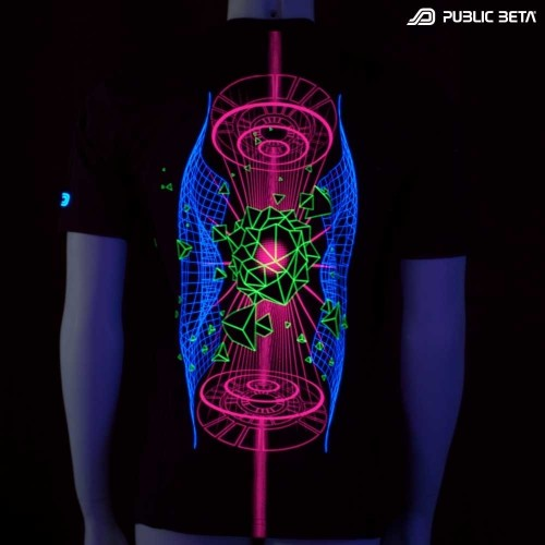 Hologram UV D66 - Psychedelic Futuristic UV Active T-Shirt