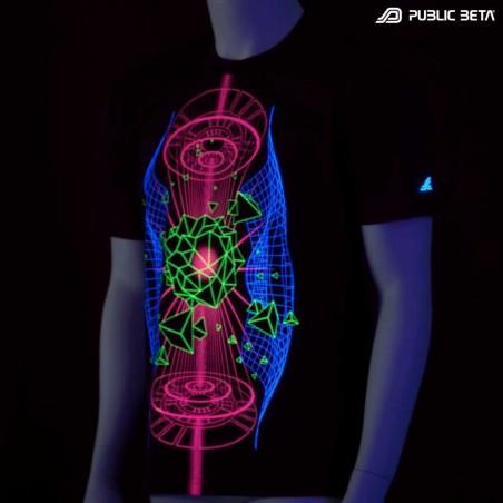 Hologram UV D66 - Psychedelic Futuristic UV Active T-Shirt