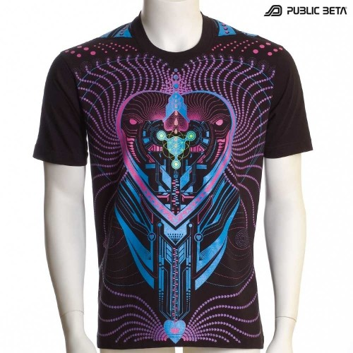 Heart Beat UV D69 - Psychedelic T-Shirt by Public Beta Wear