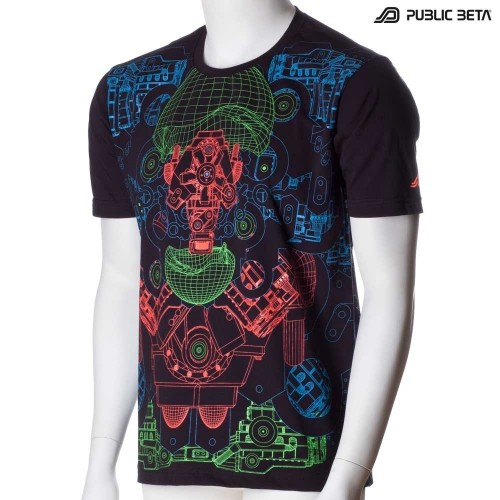 Hybrid UV Reactive Hitech Style Graphic Art T-Shirt