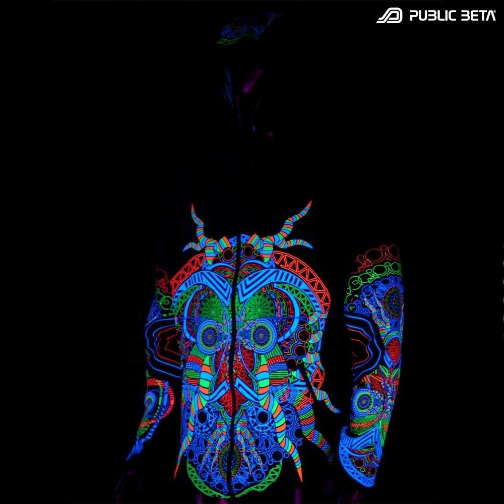 UV Active Psyart Printed Hooded Sweater / Spirit UV D51