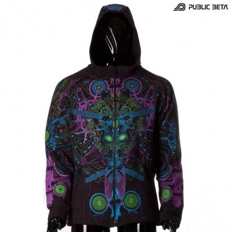 UV Active Dark Psy Clothing Messenger UV  Hooded Sweater by Public Beta Wear