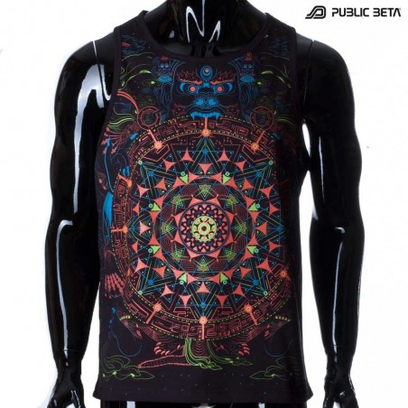 Mara's Gate UV D94 Sleeveless Shirt with UV Active Psychedelic Print
