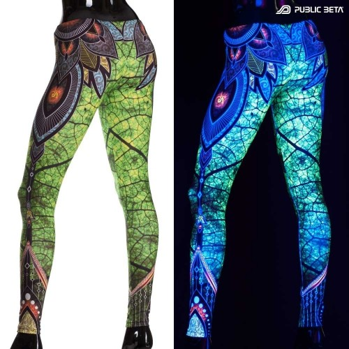 Native UV D81 Fluorescent Printed Leggings /Rave Clothing /UV Yoga Leggings