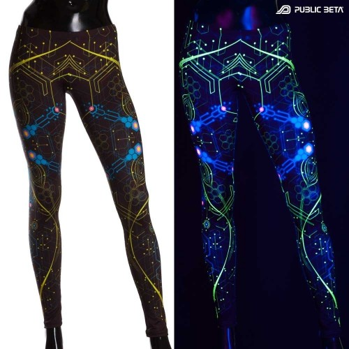 Atomic Generator Blue Glow in Blacklight Leggings