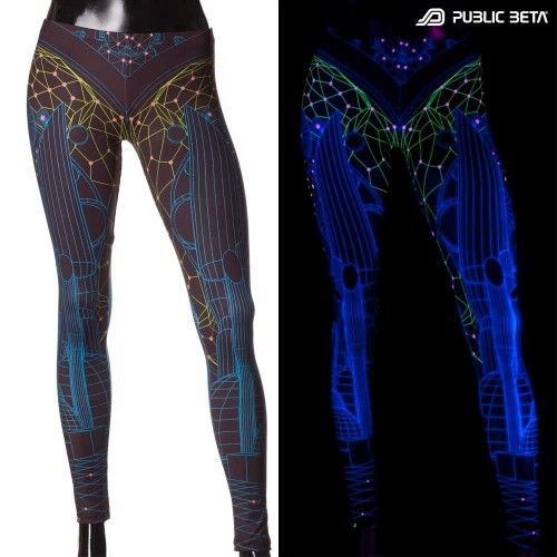 Futuristic UV Active Printed Leggings