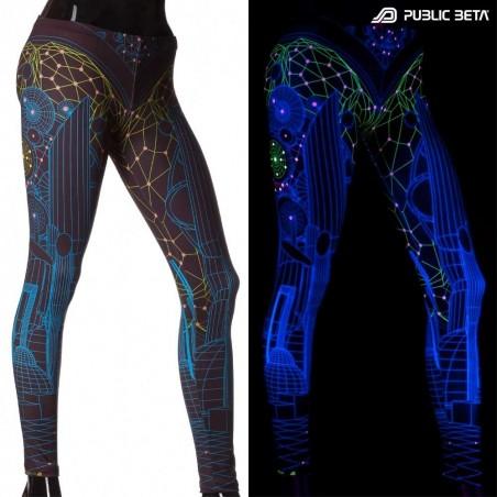 Futuristic UV Active Printed Leggings