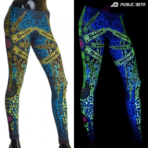 Solar Chip UV D41 / Blacklight Active Psyart Printed Leggings