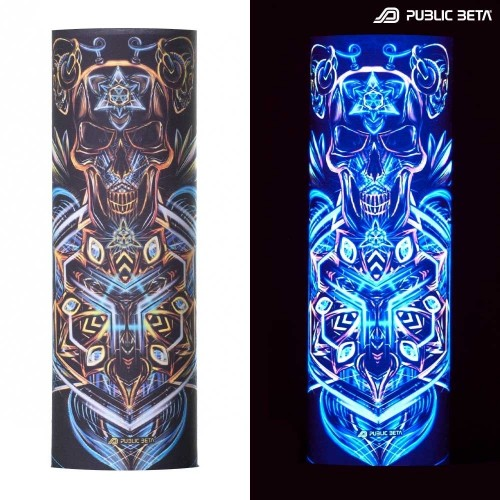 Bandana / Glow in Blacklight Face Mask/ Sacred Skull D101