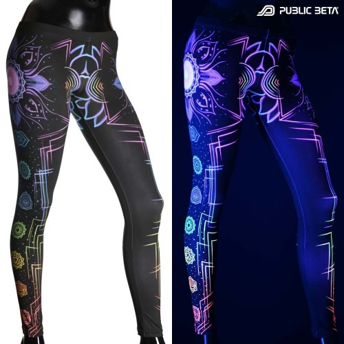 Chakra Power D112 Blacklight Art Printed Leggings