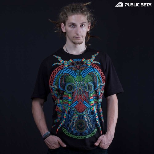UV Active Psychedelic DJ T-Shirt / Fluorescent Alternative Fashion