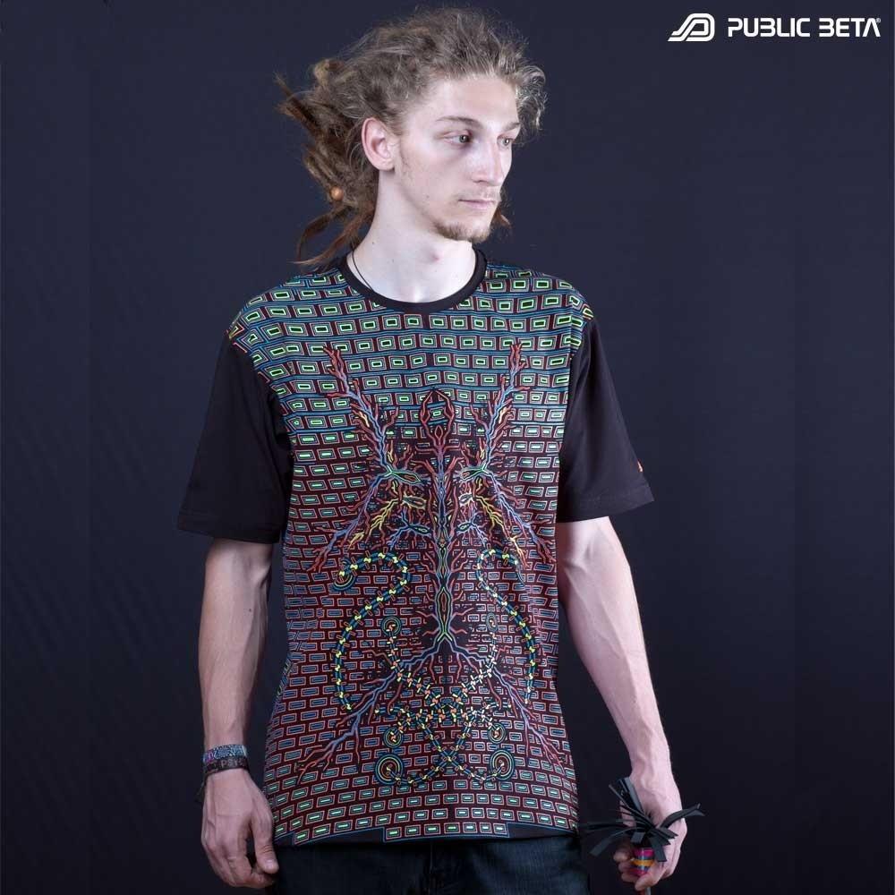 UV Printed Psy T-Shirt /Connected UV D92 / Blacklight Art