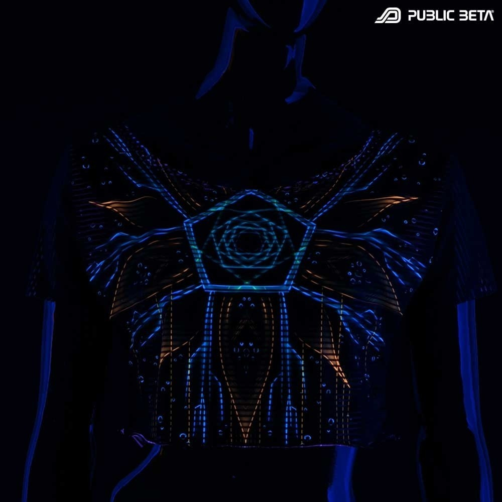 Blacklight Reactive Crop Top Secret /Multiverse D111