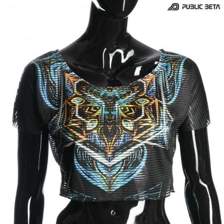 UV Active Crop Top Secret /Sacred Skull D102