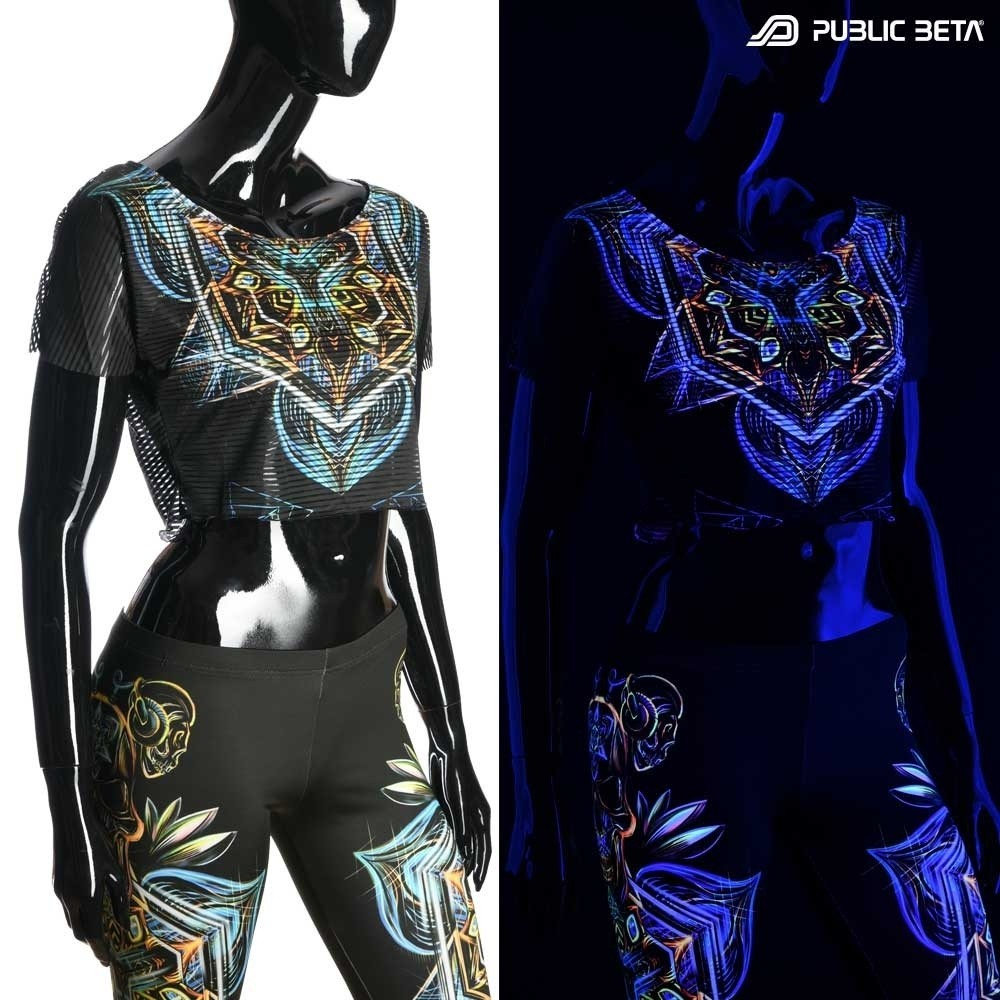 UV Active Crop Top Secret /Sacred Skull D102