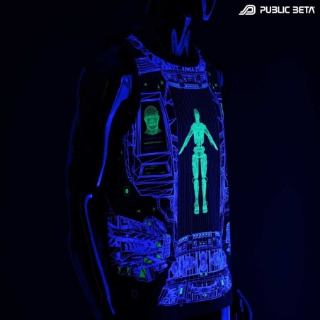 Replicator UV D116 Sleeveless Shirt with UV Active Psychedelic Print