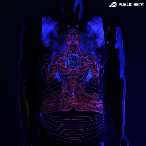 Necromancer UV D113 Sleeveless Shirt with UV Active Psychedelic Print