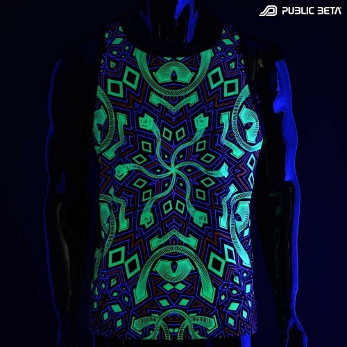 Rhombus UV D104 Sleeveless Shirt with UV Active Psychedelic Print