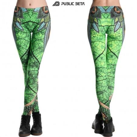 Native UV D81 Fluorescent Printed Leggings /Rave Clothing /UV Yoga Leggings