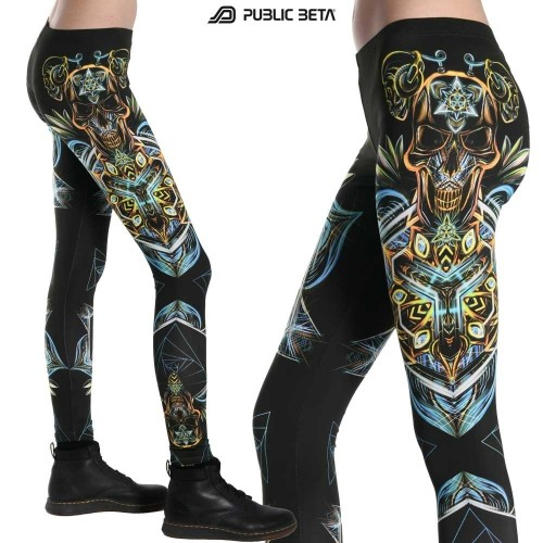 Sacred Skull D102 Blacklight Art Printed Leggings