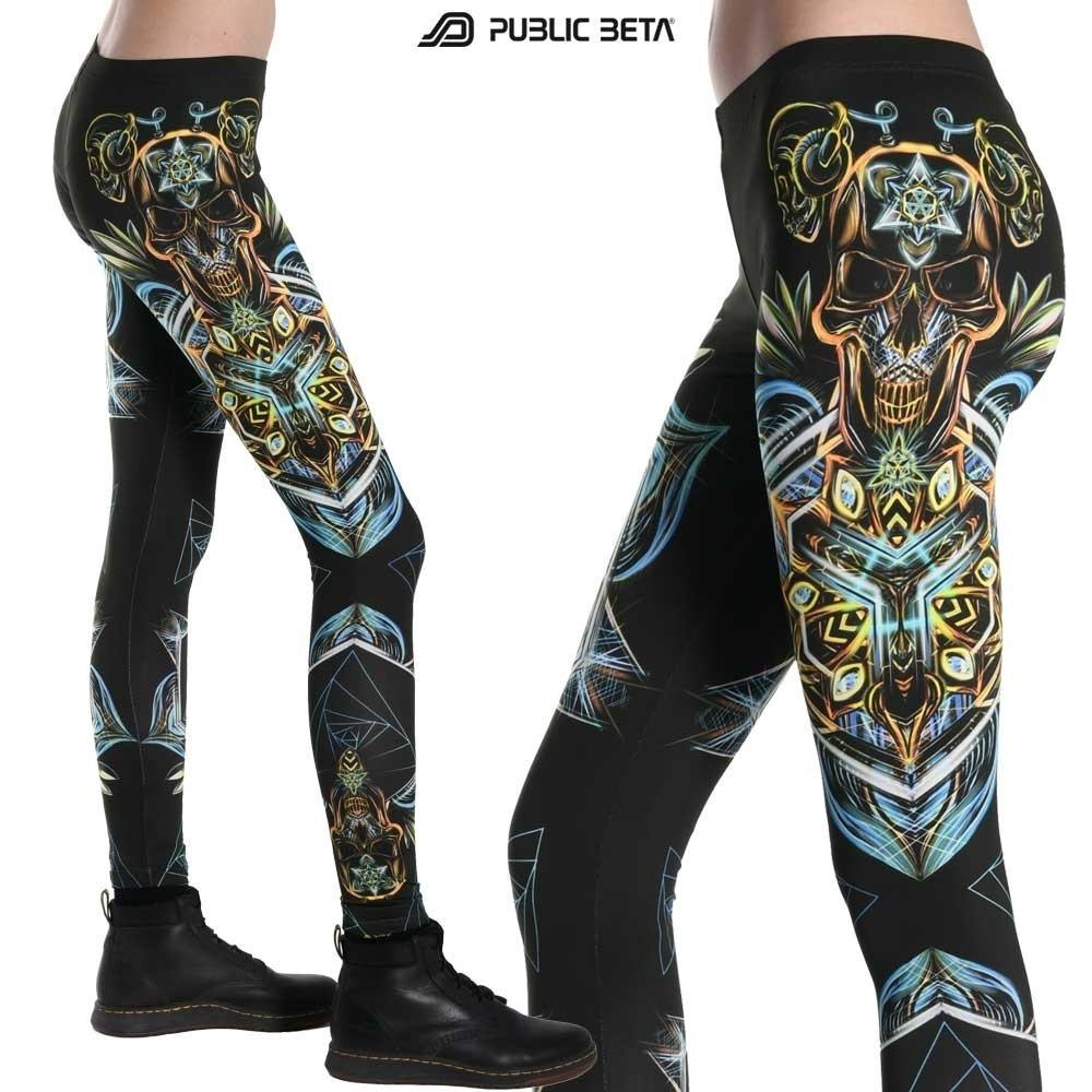 Sacred Scull D102 Blacklight Art Printed Legging