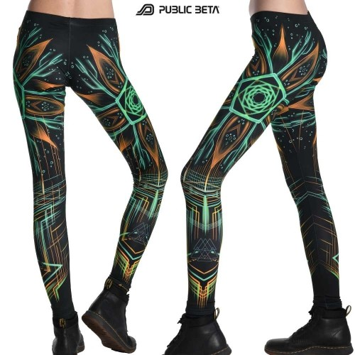Neon Psychedelic Leggings / Multiverse UV D111