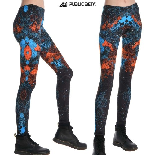 Crystal UV Psytrance Festival Fashion / Glow in UV Light Leggings