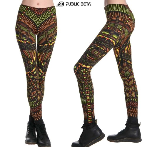 Psychedelic UV Reactive leggings /Fire Performance Costume
