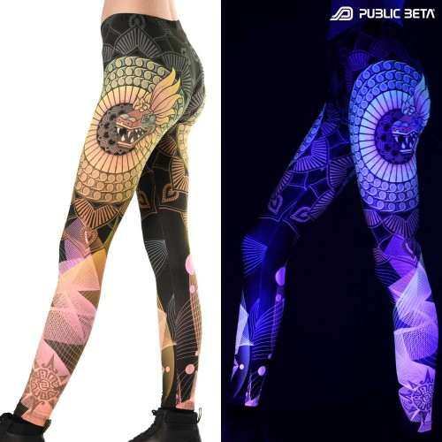 Serpent D135 Blacklight Art Printed Leggings