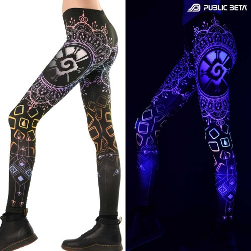 Psychedelic Glow in Blacklight Leggings /Hunab Ku D134