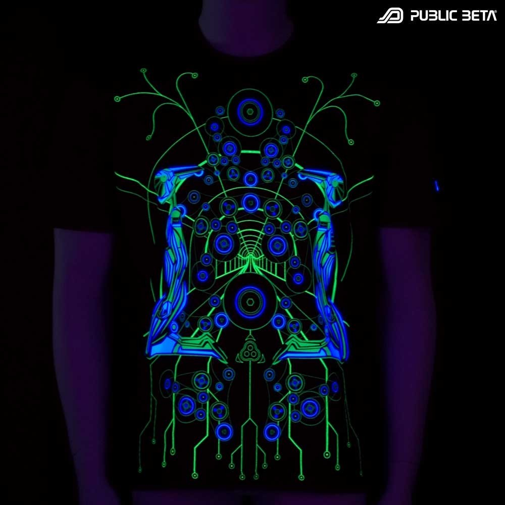 Psychedelic T-Shirt. Cyberdelic Hitech Design.