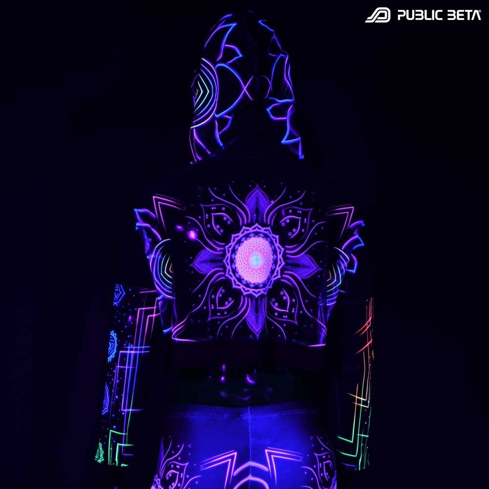 Blacklight Reactive Hooded Crop Top Mesh /Chakra Power D112