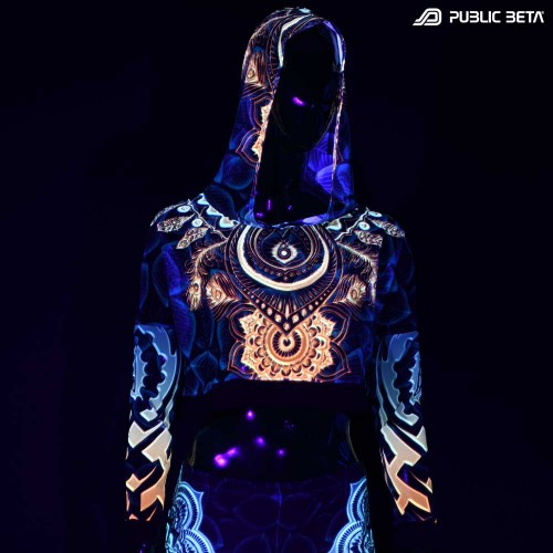 Blacklight Reactive Hooded Crop Top Mesh /CivilEye D129