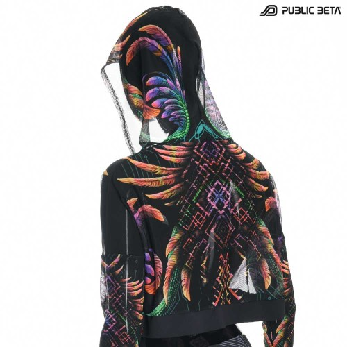 Blacklight Reactive Hooded Crop Top Mesh /Supernatural D136