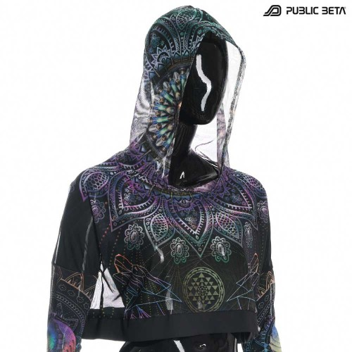 copy of Blacklight Reactive Hooded Crop Top Mesh /Chakra Power D112