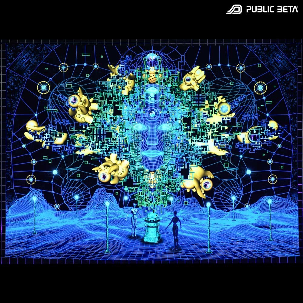Innerverse D140 Blacklight Active Psyart Tapestry