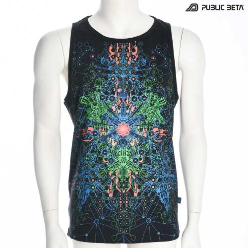 Sleeveless Spirit Circuit  Blacklight  Psytrance Art on Clothing