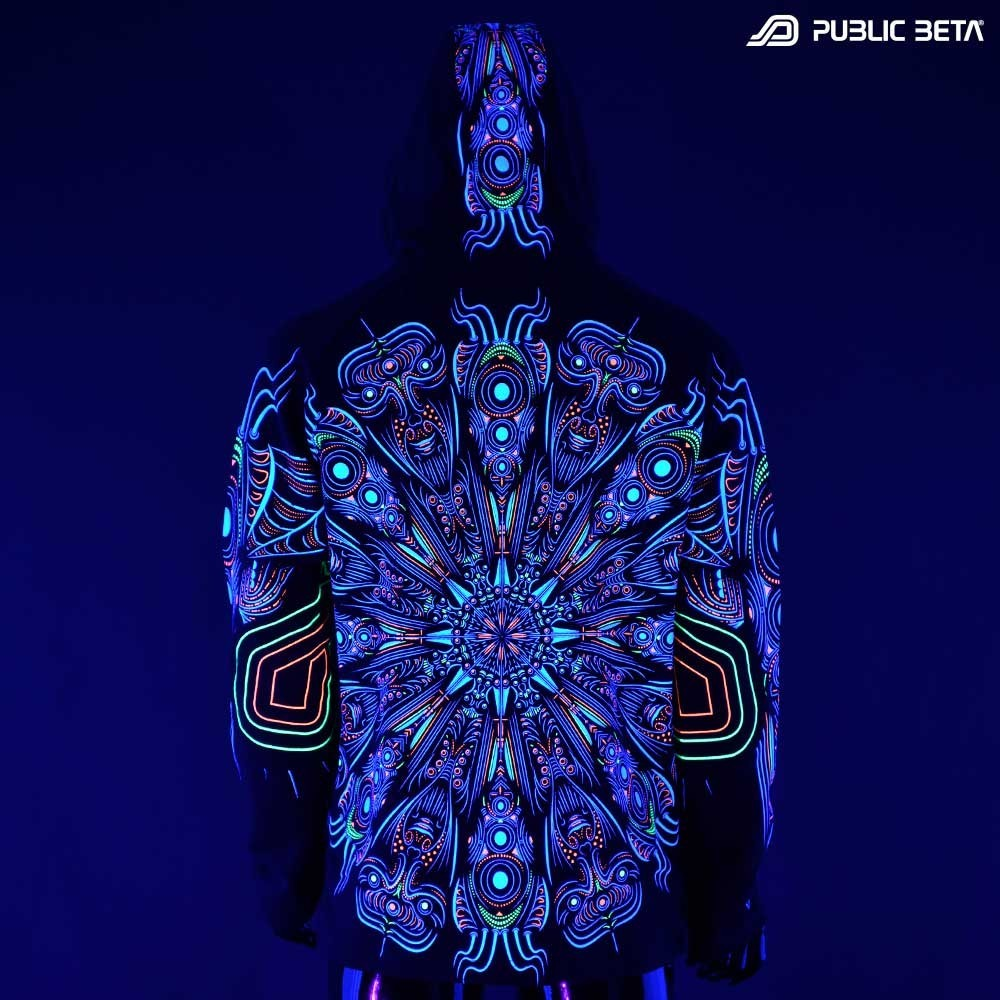 Cyberdala UV D108 Hooded Sweater / Blacklight Psywear