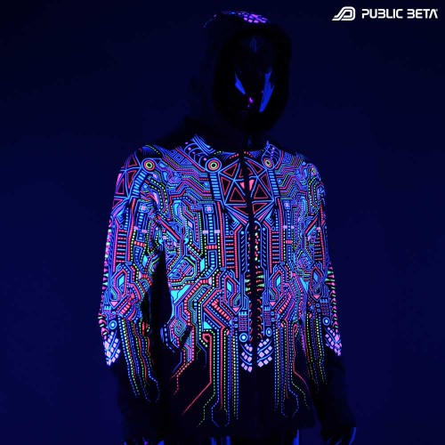 BOT UV D121 Hooded Sweater / Glow in Blacklight Psywear