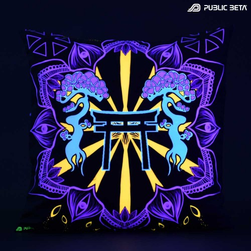 Galactic Torii D76 Glow in Blacklight Pillow Cover / Psydeco