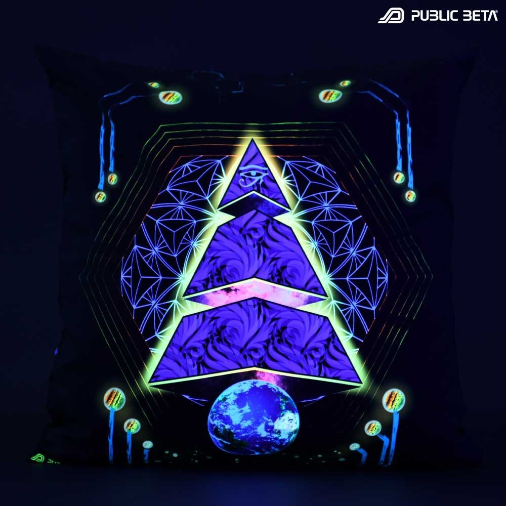 Spyramide D90 Glow in Blacklight Pillow Cover / Psydeco