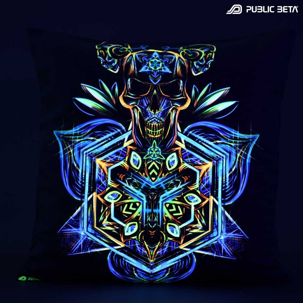 Sacred Skull D102 Glow in Blacklight Pillow Cover