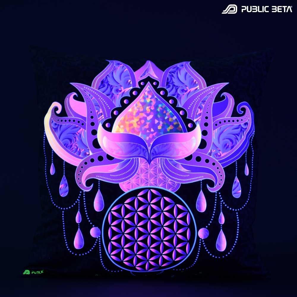 Lotus 23 D109 Glow in Blacklight Pillow Cover