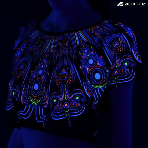 UV Reactive Psywear / Cyberdala D108 UV Crop Top Cotton